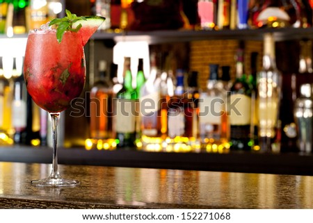 Watermelon Mojito on the background of the bar - stock photo