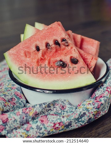 Watermelon on the plate - stock photo