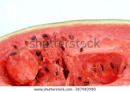 Watermelon rot images close-up on a white background