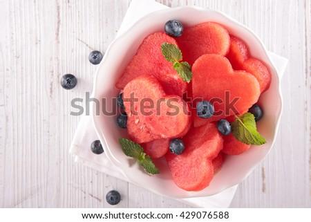 watermelon salad,top view - stock photo