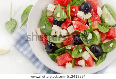 Watermelon salad with feta cheese. Healthy food concept. Top view