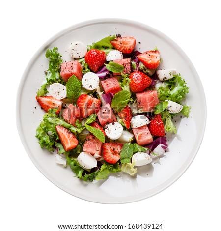 Watermelon Salad with mozzarella on white background - stock photo