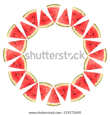 Watermelon slices in a circle, isolated on white