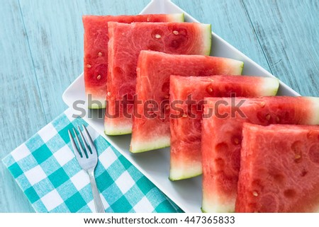 Watermelon slices on a plate in summertime