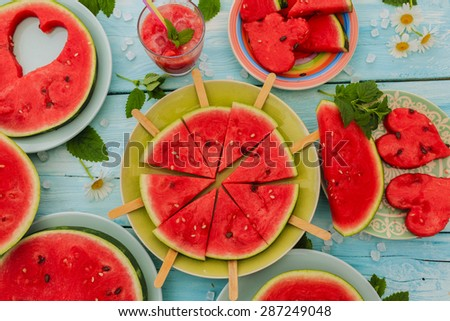 Watermelon - summer delights of watermelon, summer party - stock photo