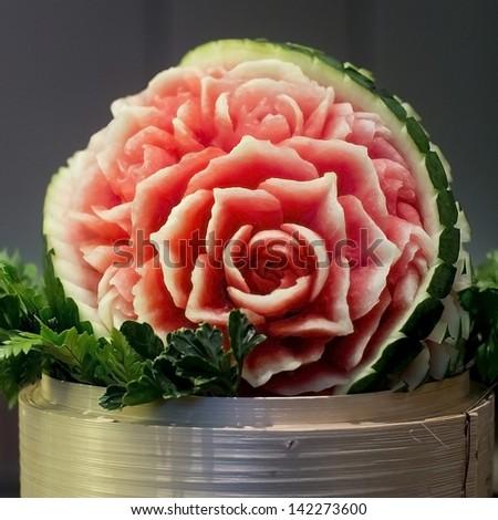 Watermelon Thai fruit carving - stock photo