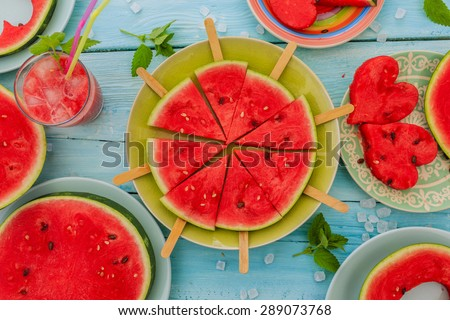 Watermelon - the delights of watermelon - stock photo