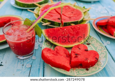 Watermelon - the delights of watermelon, summer party - stock photo