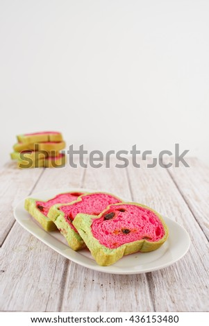 Watermelon Toast, Slide Bread, Raisin Bread Slice with Watermelon Style - stock photo