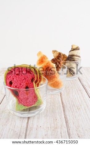 Watermelon Toast, Slide Bread, Raisin Bread Slice with Watermelon Style and Variety Croissant - stock photo