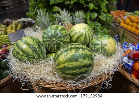 watermelons in a supermarket - stock photo