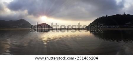 waters of the Cantabrian Sea, Bay of La Concha, in the city of san sebastian. - stock photo