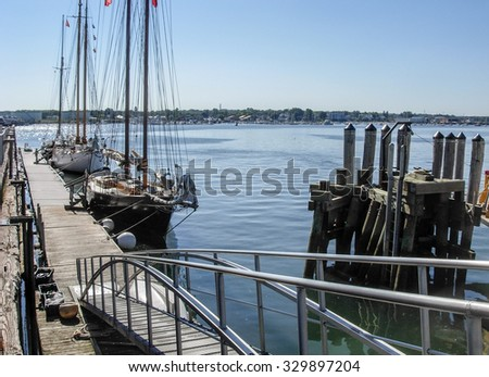 waterside harbor scenery with ships and boats in Portland, Maine (USA) - stock photo