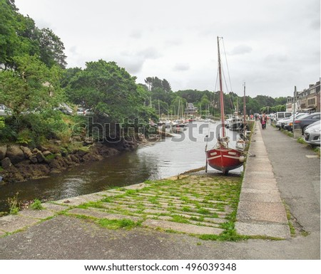 waterside scenery at Pont-Aven, a commune in the Finistere department of Brittany in northwestern France.