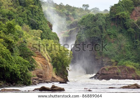 waterside scenery at the Murchison Falls in Uganda (Africa) - stock photo