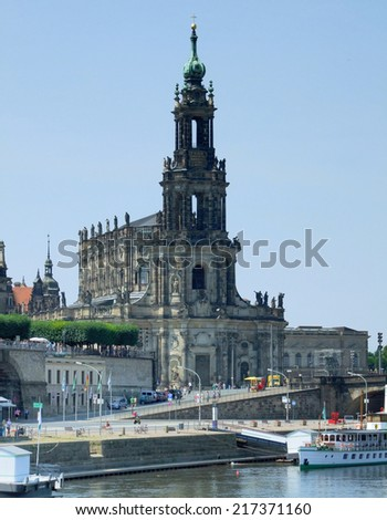 waterside scenery of a city named Dresden in Saxony (Germany) - stock photo
