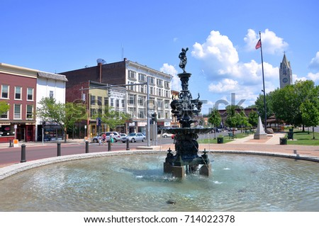WATERTOWN, NY, USA - AUG. 16, 2012: Historic fountain in Public Square in downtown Watertown, Upstate New York, USA.