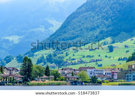 Waterview on Swiss village near Lucerne, Switzerland.