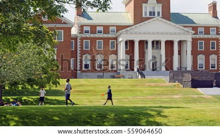 WATERVILLE, USA - JULY 25, 2016:Colby College. Students in summer near Miller Library.