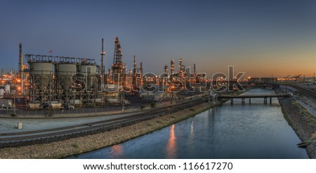 waterway and industrial buildings - stock photo