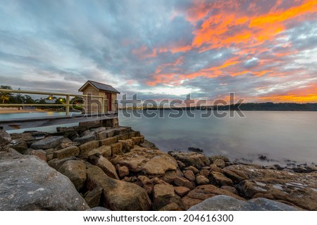 Watson Bay sunset at Camp Cove and Sydney City Background - stock photo