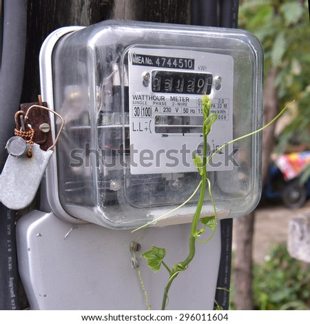 Watt hour Electric meter measurement tool home use  front view / close up - stock photo