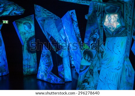 WATTENS, AUSTRIA - JULY 4, 2015: Interior of the Swarovski Crystal Worlds (Kristallwelten) museum. Swarovski is an Austrian producer of luxury cut lead glass found in 1895