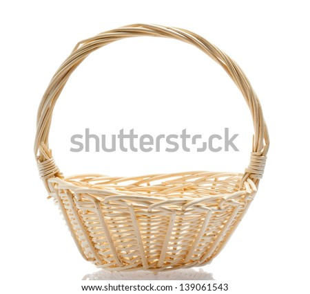 Wattled basket with reflection on a white background