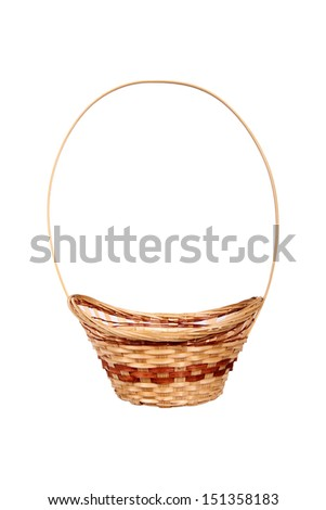Wattled wooden basket isolated on white background