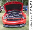 WAUPACA, WI - AUGUST 25: Front view of 2012 Ford Mustang Boss 302 car at the 10th Annual Waupaca Rod & Classic Car Club Car Show on August 25, 2012 in Waupaca, Wisconsin. - stock photo