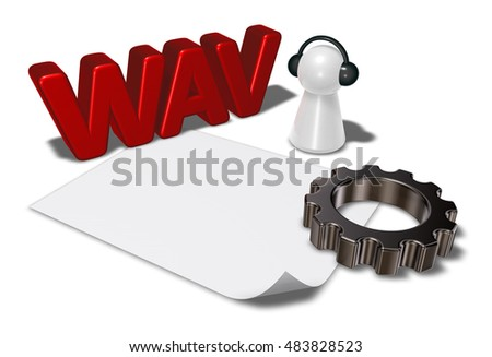 wav tag, gear wheel and pawn with headphones - 3d rendering