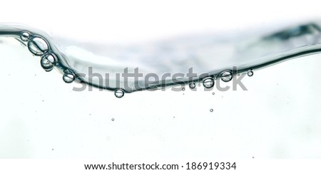 wave and bubbles isolated on white