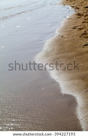 Wave and sand closeup