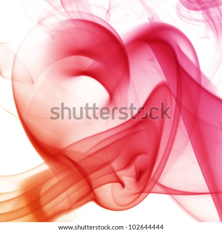 wave and smoke in form heart of different colors isolated on white