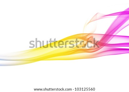 wave and smoke of different colors isolated on white - stock photo