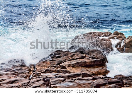 wave and splashes Coast of Death, Galicia, Spain - stock photo