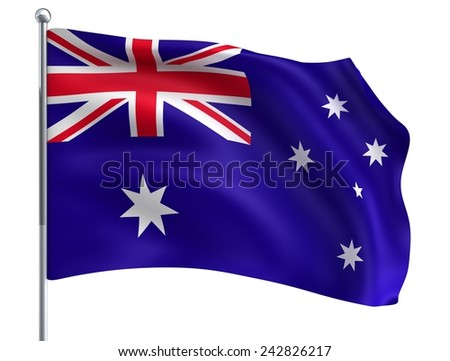 Wave Australia Flag in High Quality Isolated on White with Flagpole