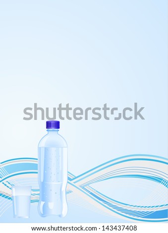 wave background with plastic bottle