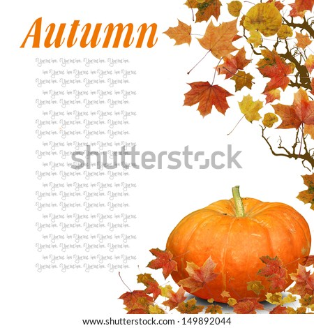 Wave from Autumn Leaves with pumpkin - stock photo