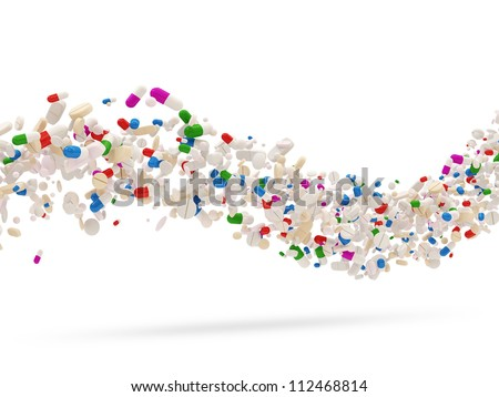 Wave from Colorful Medical Pills isolated on white background - stock photo
