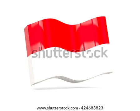 Wave icon with flag of monaco. 3D illustration