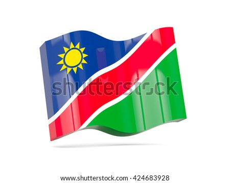Wave icon with flag of namibia. 3D illustration