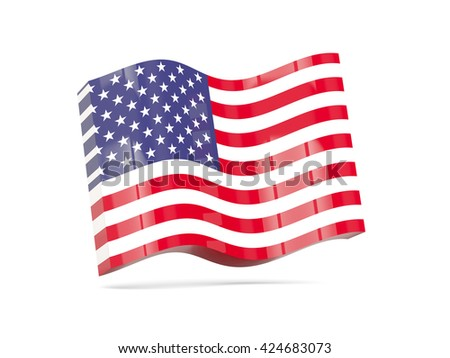 Wave icon with flag of united states of america. 3D illustration