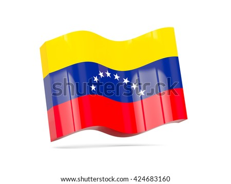 Wave icon with flag of venezuela. 3D illustration