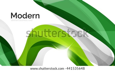 Wave light abstract background- color curve stripes and lines in various motion concepts and with light and shadow effects. Presentation banner and business card message design template set. - stock photo