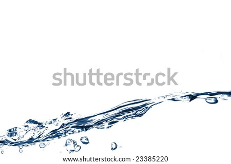 wave of fresh and clear water on white background