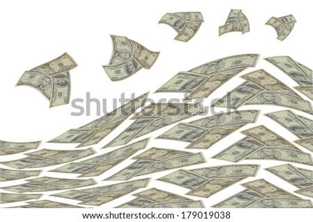 Wave of money on white background. - stock photo