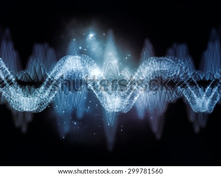 Wave of Sound series. Arrangement of sine waves and fractal elements on the subject of science, education and technology - stock photo
