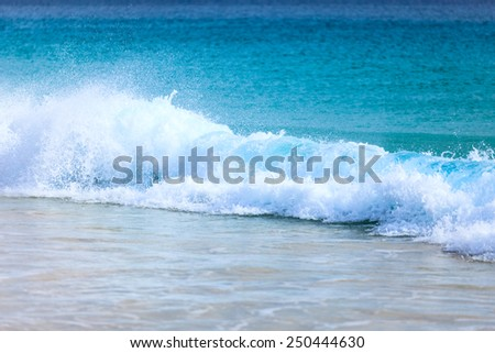 Wave of the sea on the sand beach, Boavista - Cape Verde - stock photo