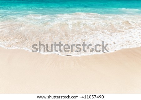 Wave of the sea on the sand beach in Punta Cana, Dominican Republic - stock photo